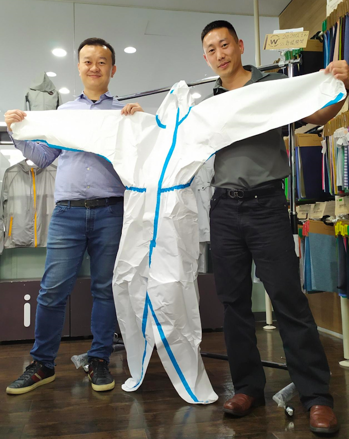 Canadian entreprenuer Ed Shim (left) and his personal protection equipment.