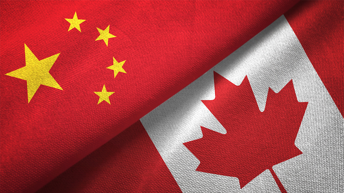 Canada and China flags merged