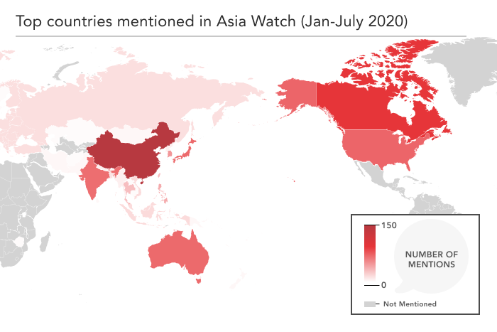 Heatmap of APF Canada's Asia Watch coverage