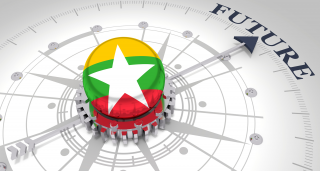 Myanmar flag ball on compass