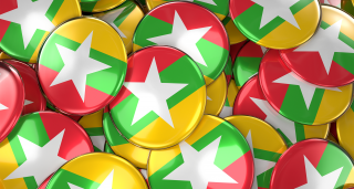 Image of Myanmar flag on buttons