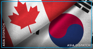 South Korea and Canada Flags