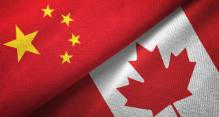 flags of canada and china